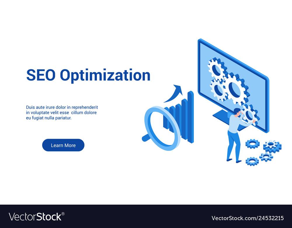 Seo optimization 3d blue template