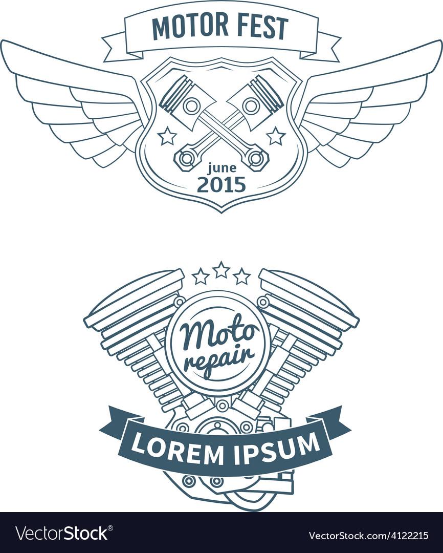 Set of biker badges