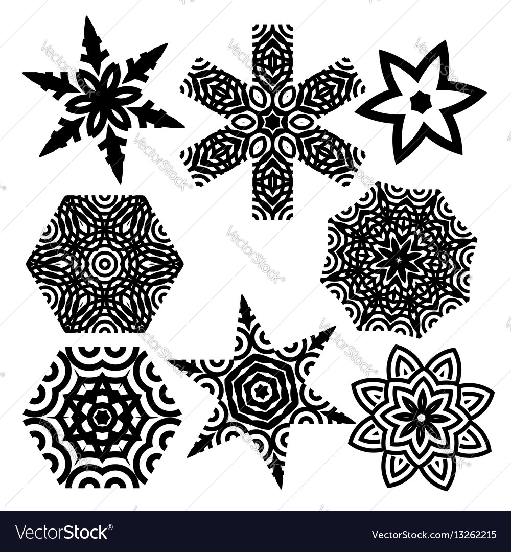 Set of elements for design stylized star mandala