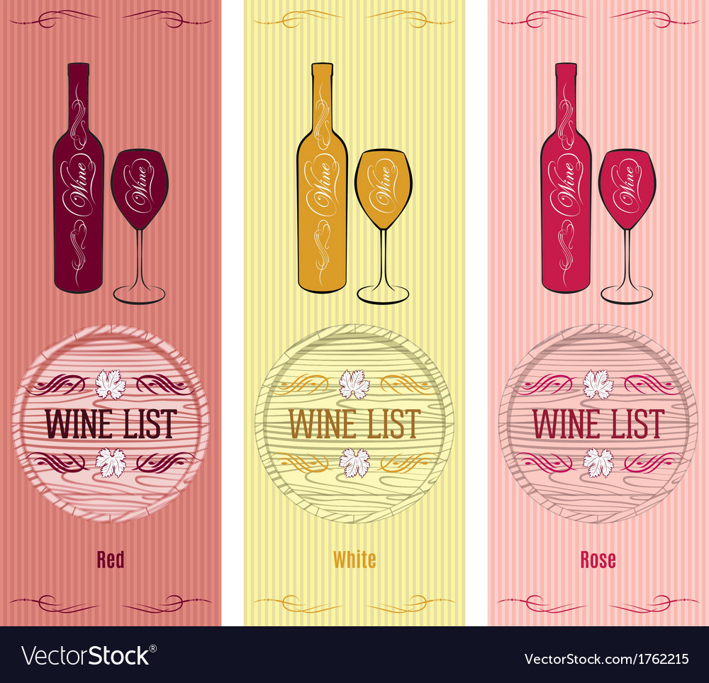 Set of patterns for wine list vector image
