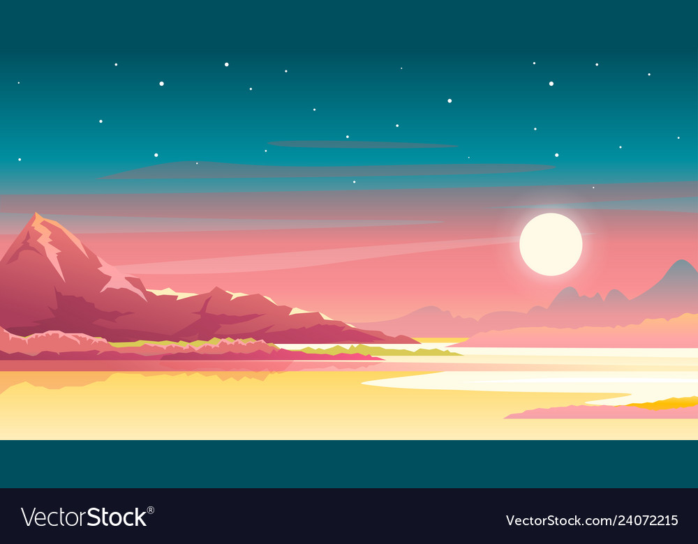Sunset in mountains landscape background