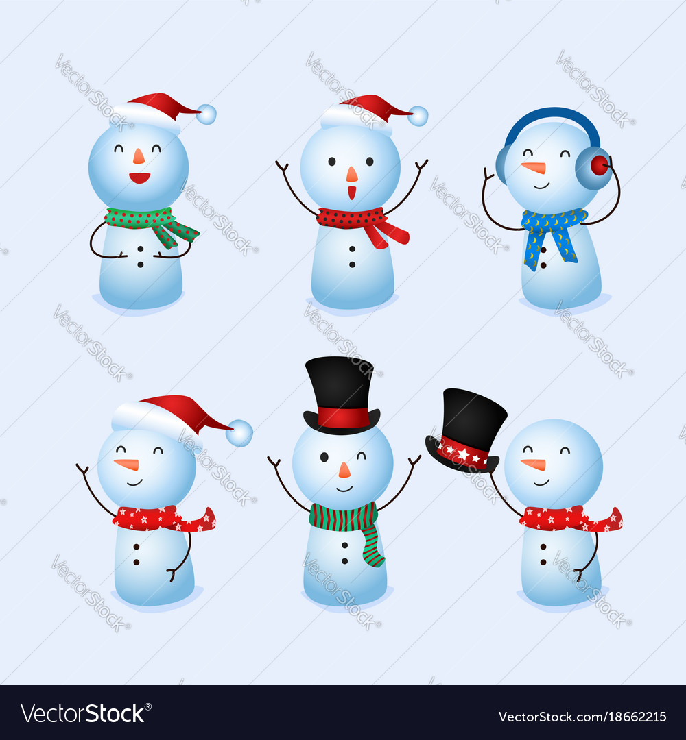 winter holidays cute snowman collection royalty free vector