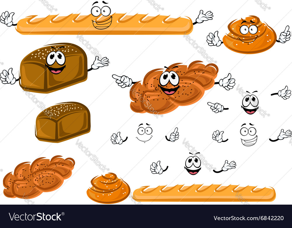 Baguette rye bread cinnamon roll and bun