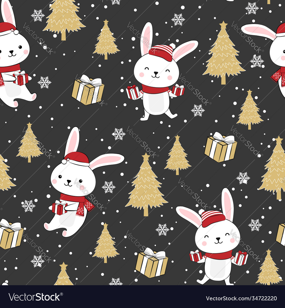 Christmas seamless pattern with bunny background
