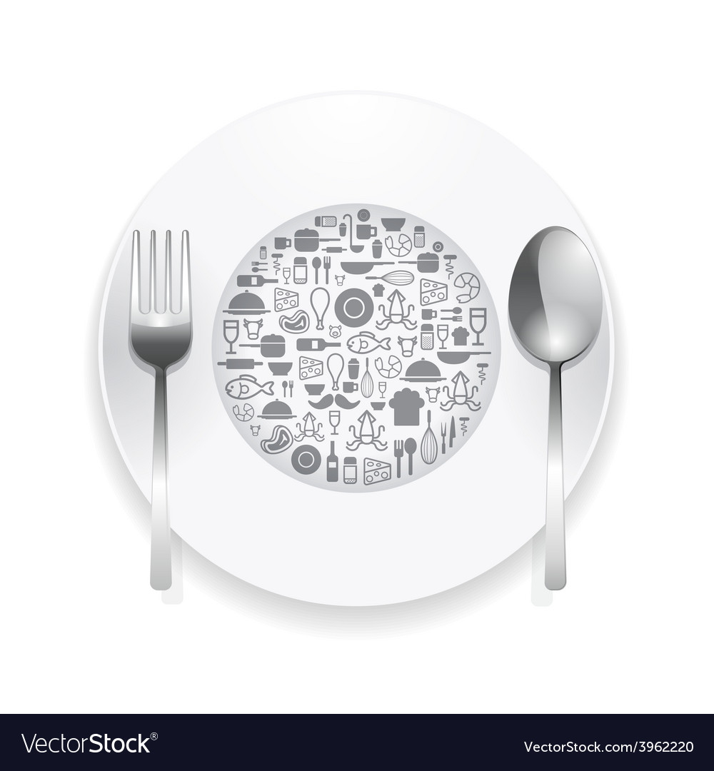 Flat Icons plate foods concept
