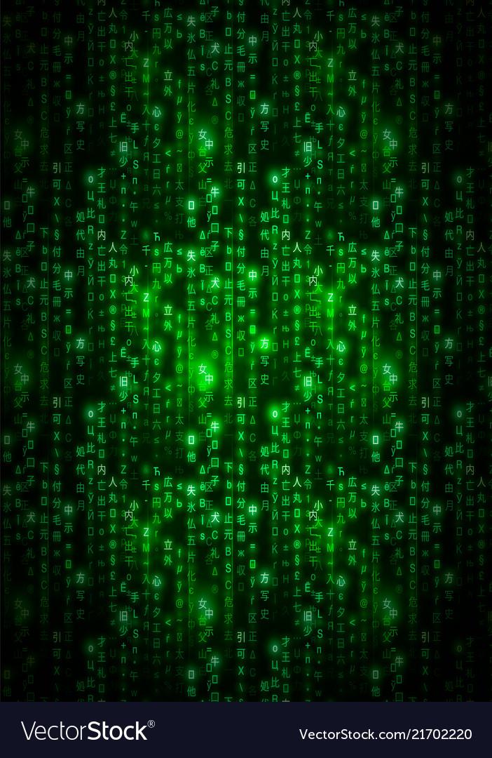 Green Matrix Symbols Digital Binary Code On Dark Vector Image