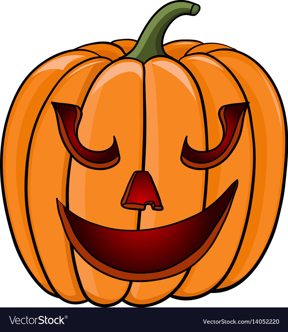 Halloween pumpkin funny face hand drawn colored