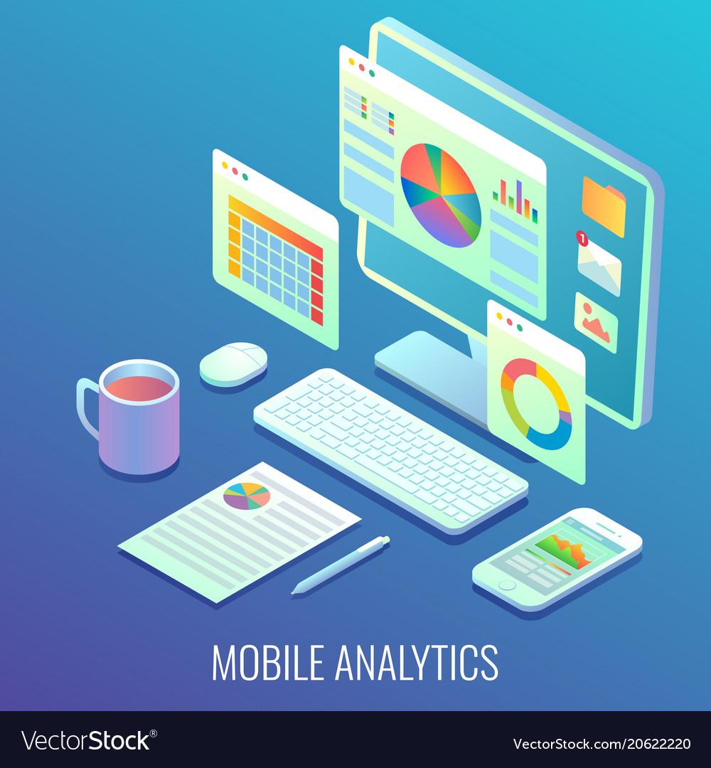 Mobile web analytics concept flat isometric