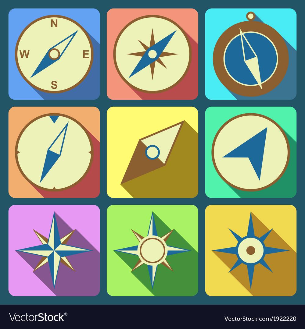Navigation compass flat icons set vector image