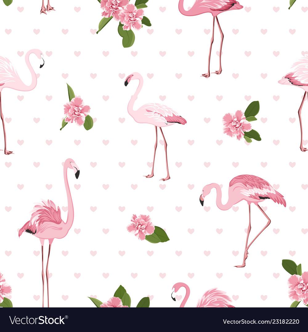 Pink exotic flamingo birds tropical camelia