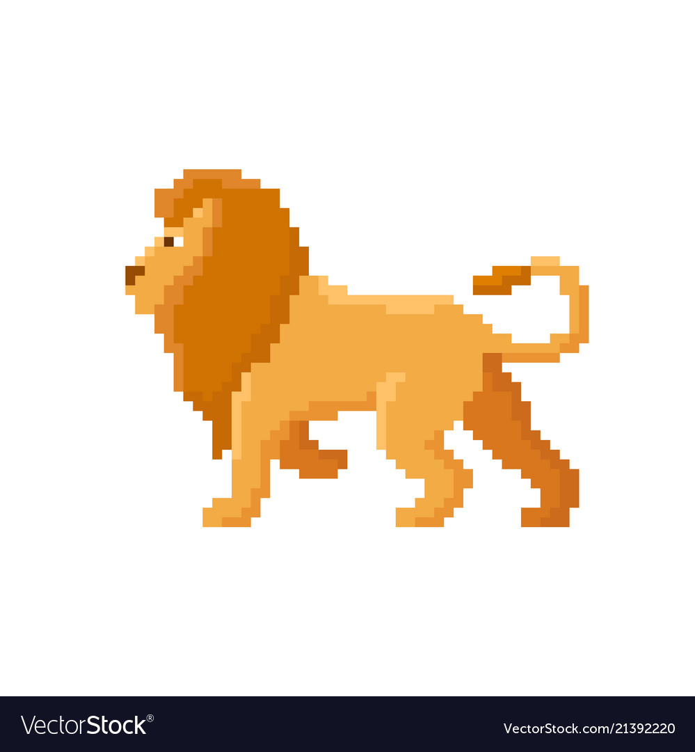 Pixel lion isolated on white background