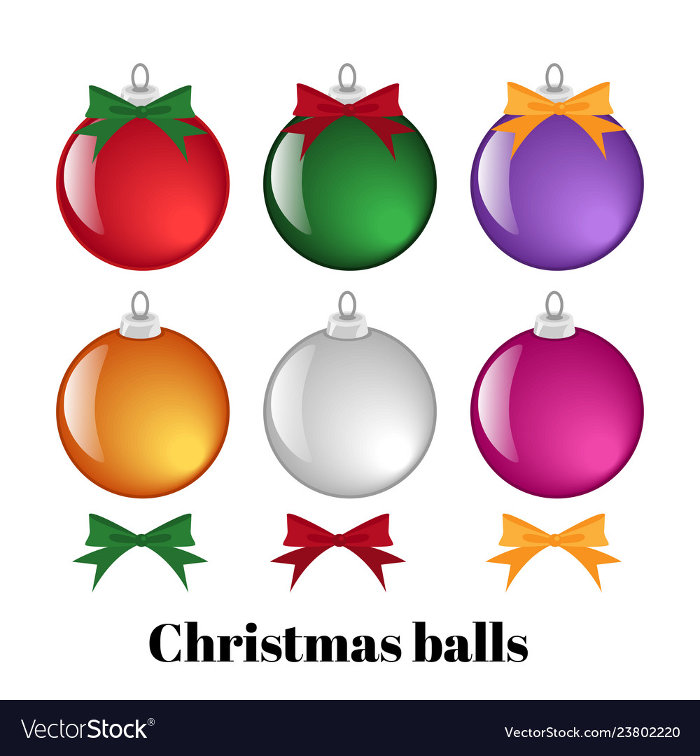 Set of colorful christmas balls and ribbons