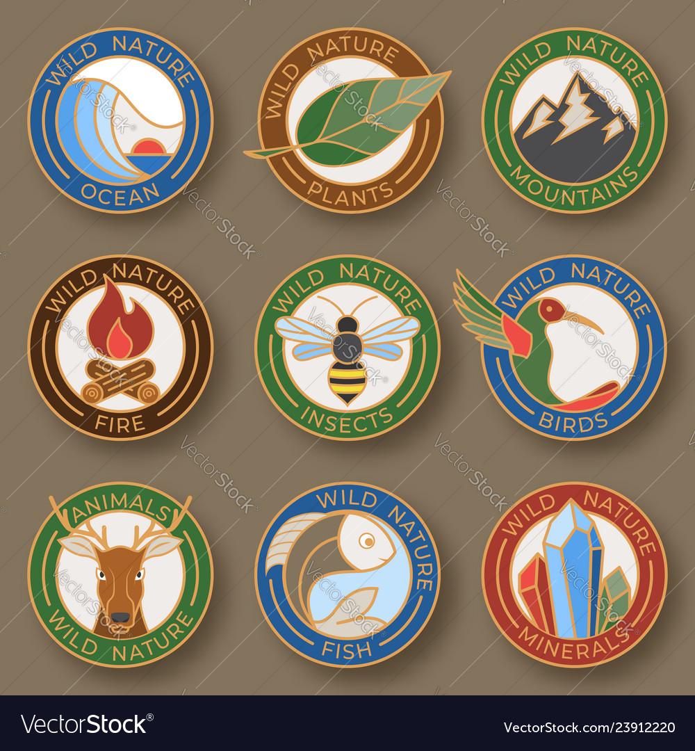 Set of nine stylish line insignias logo