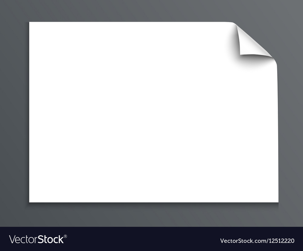 Sheet of paper with curl corner isolated on dark