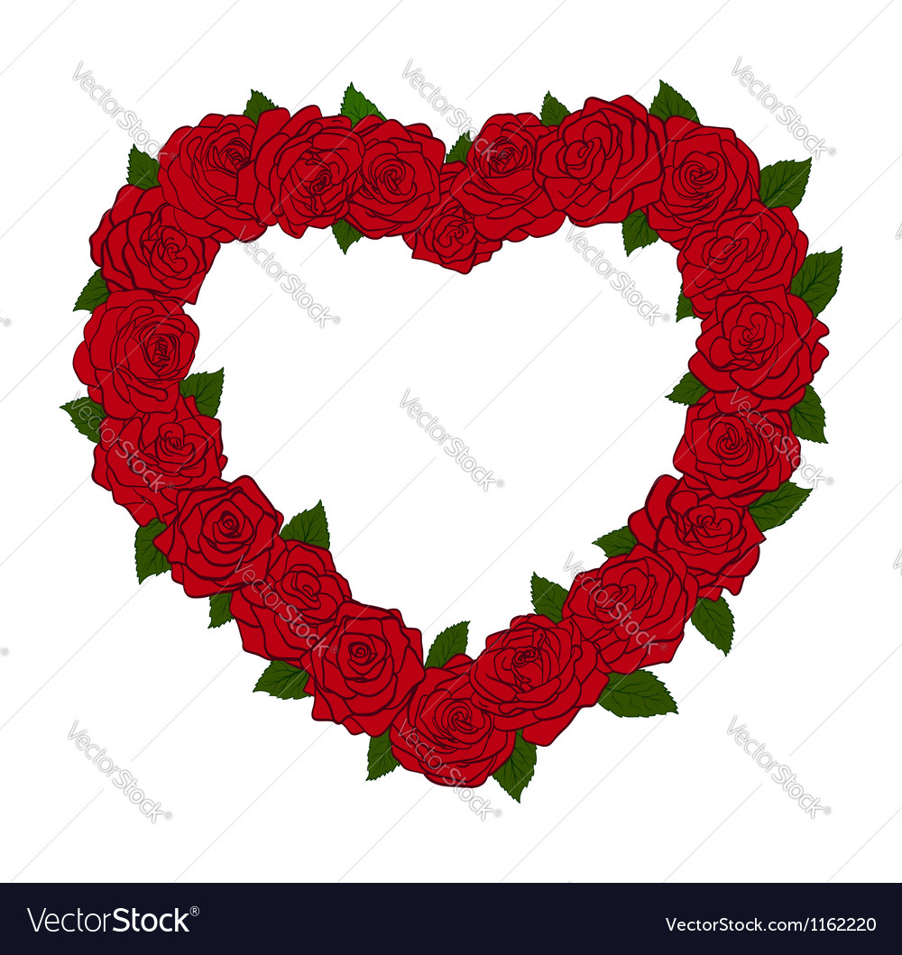 Silhouette of the heart bordered with flowers rose vector image