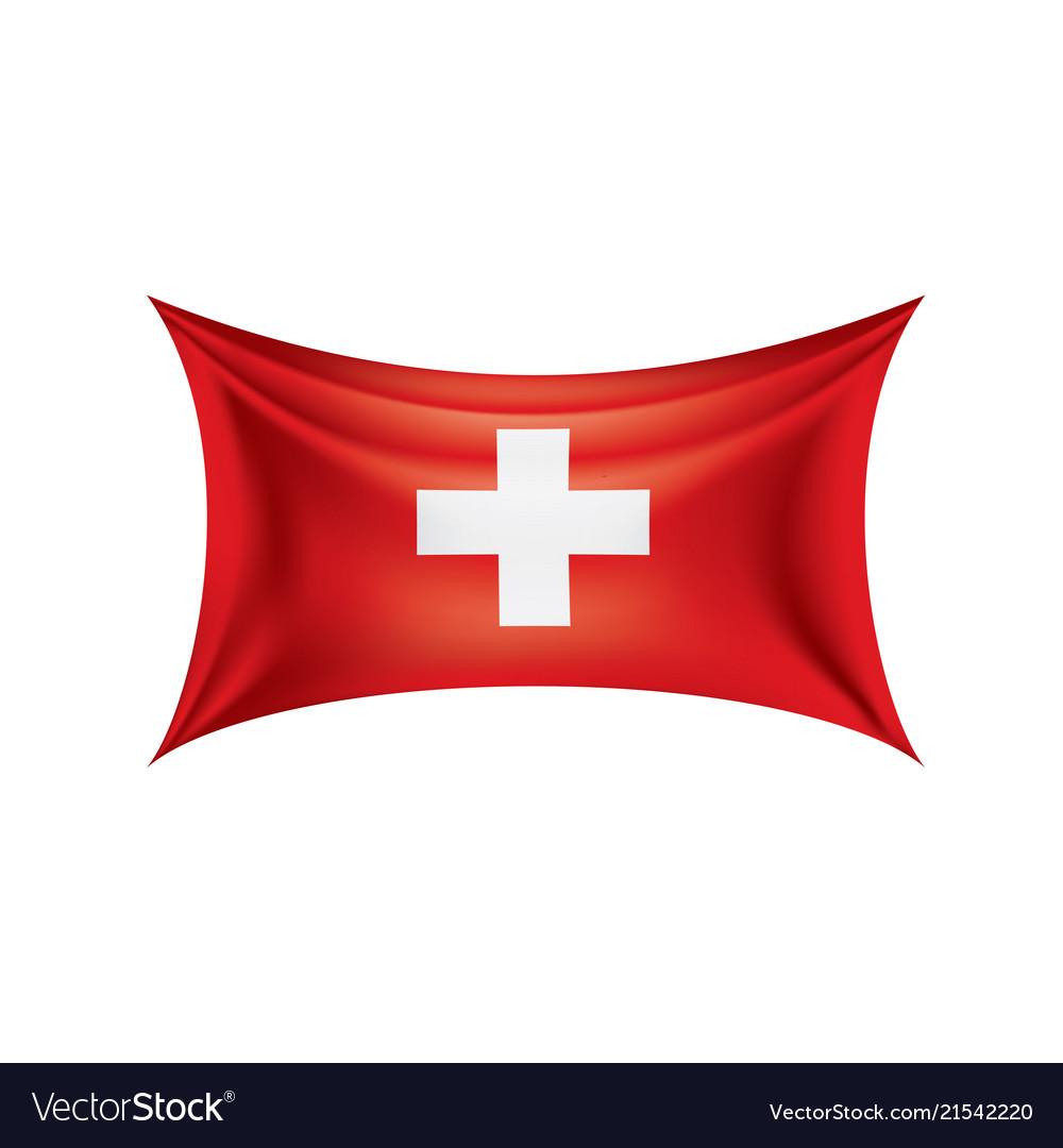 Switzerland flag on a white