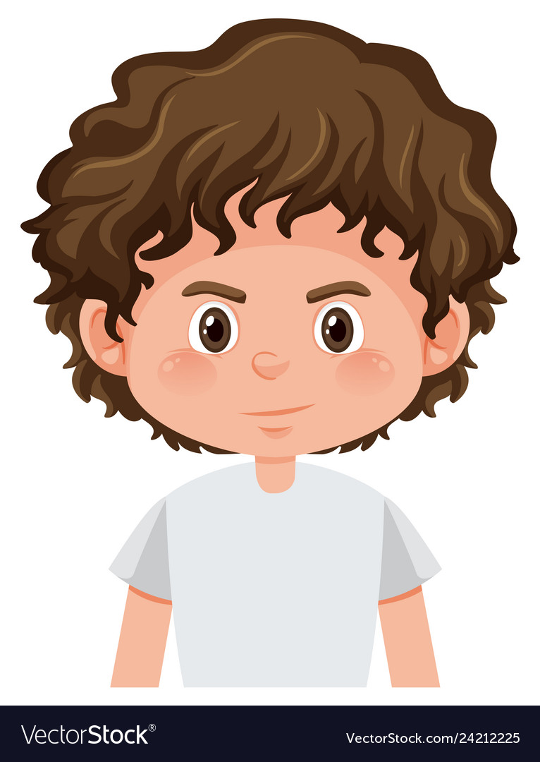 A Curly Hair Boy Character Royalty Free Vector Image