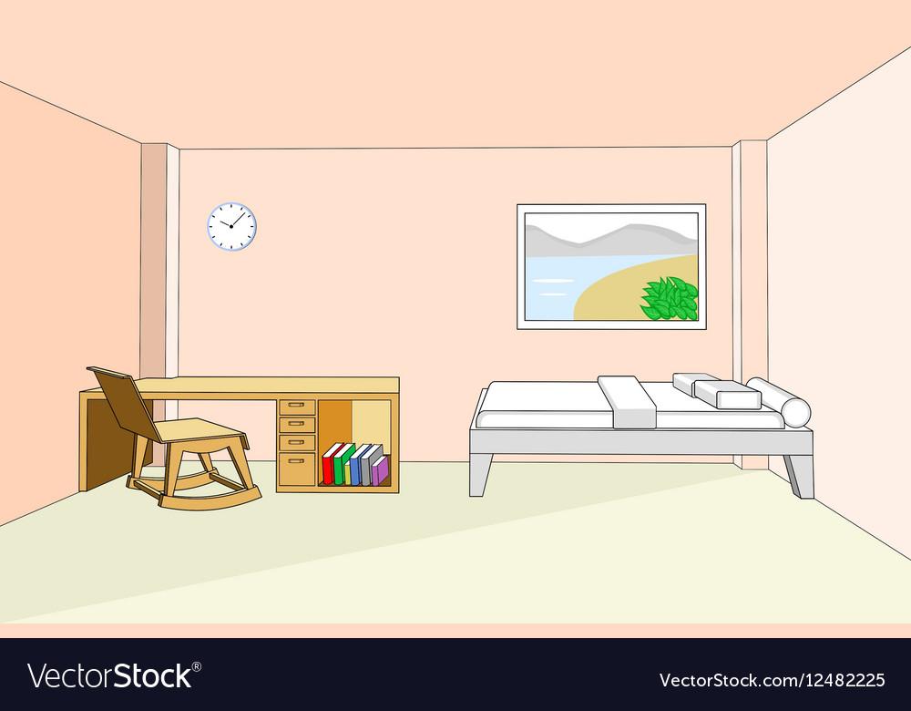 Bedroom interior with desk 3d vector image