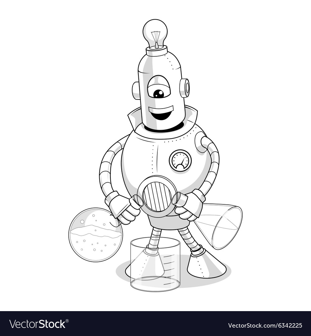 Cartoon robot science experiment