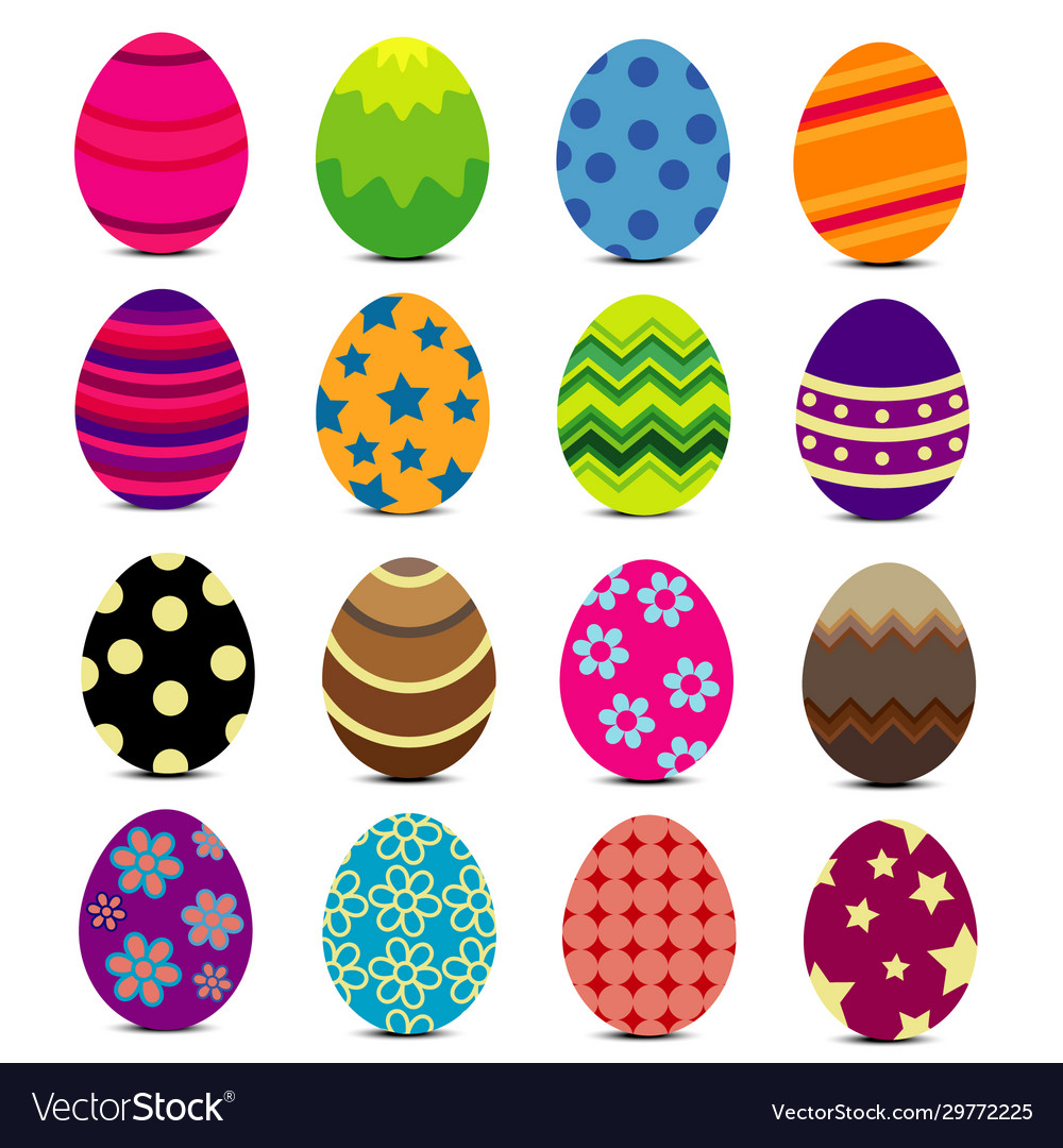 Colorful easter eggs with patterns