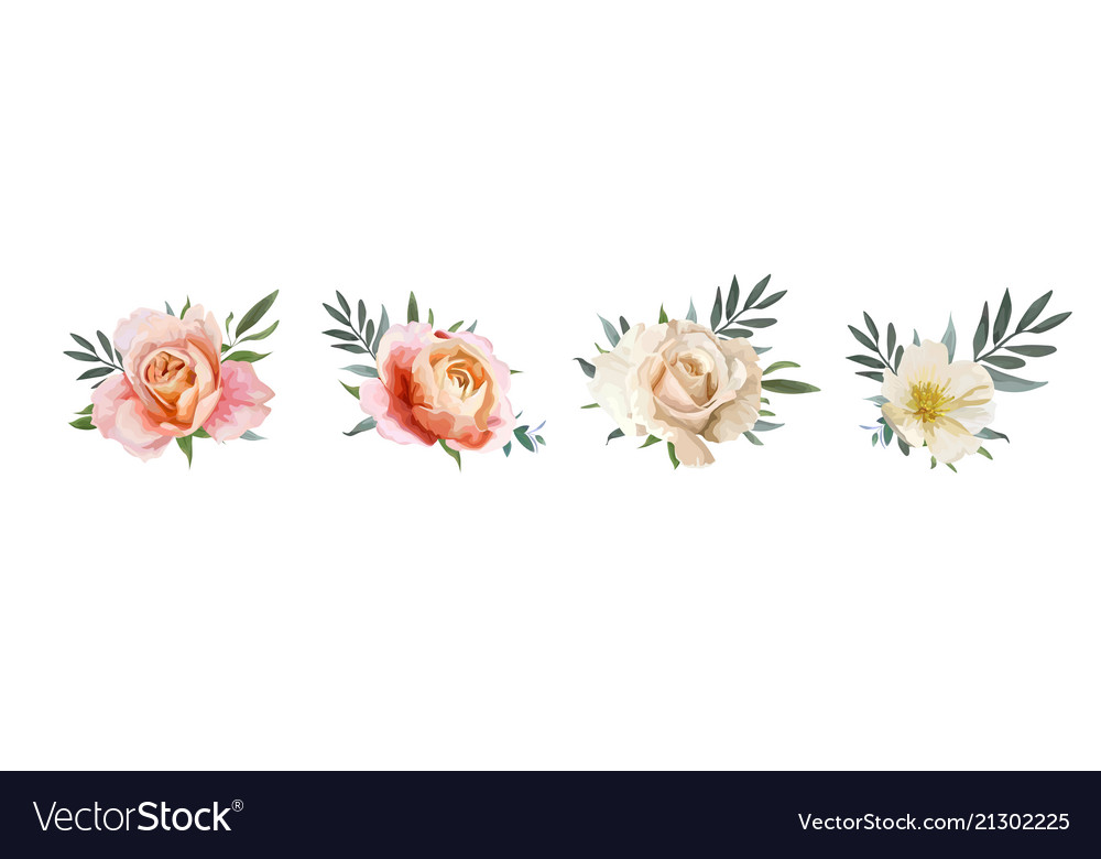 Floral bouquet design garden rose flower elements