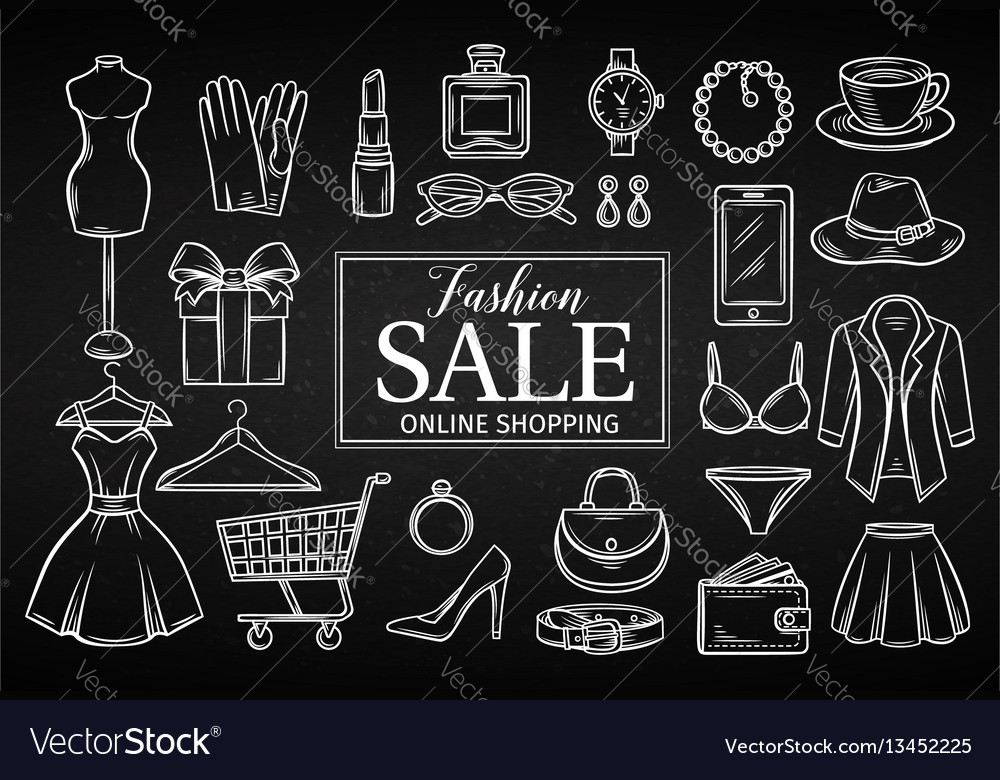 Hand drawn fashion online shop icons set