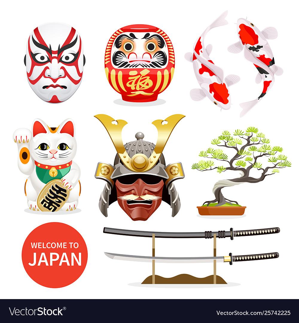 Japan art culture elements icons