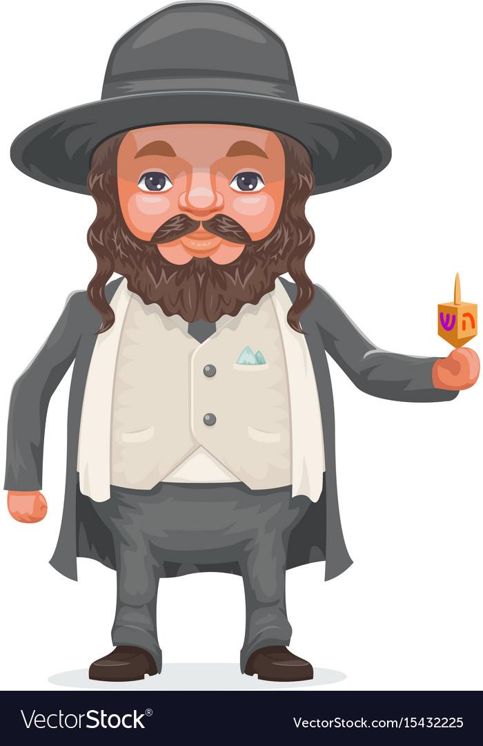 Male rabbi payot beard traditional jewish costume vector image