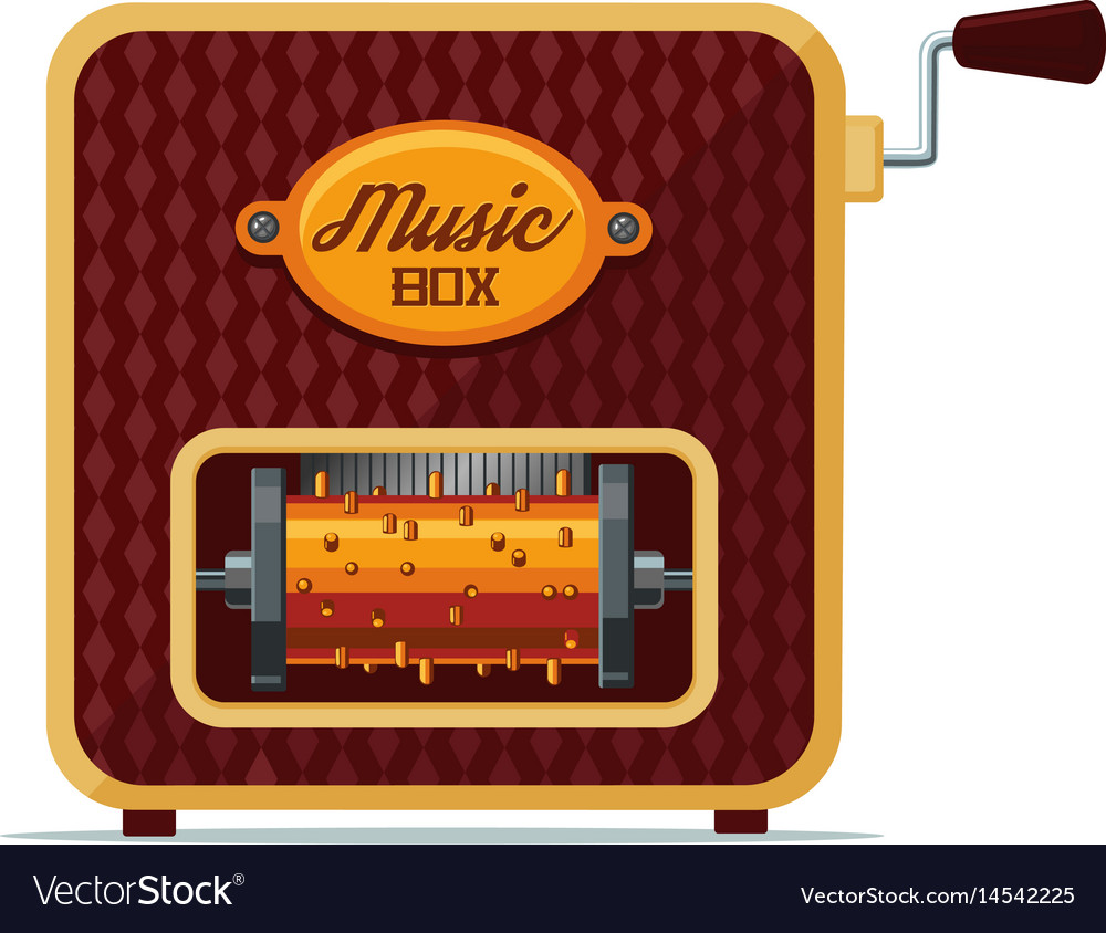 Realistic vintage music box isolated on white vector image