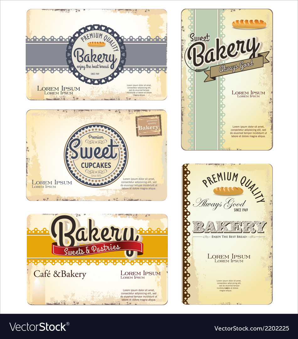 Set of 5 bakery retro business card templates vector image wajeb Choice Image