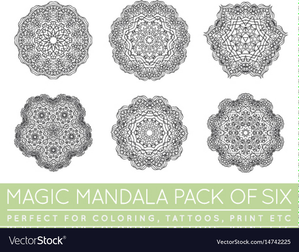Set of ethnic fractal mandala meditation tattoo
