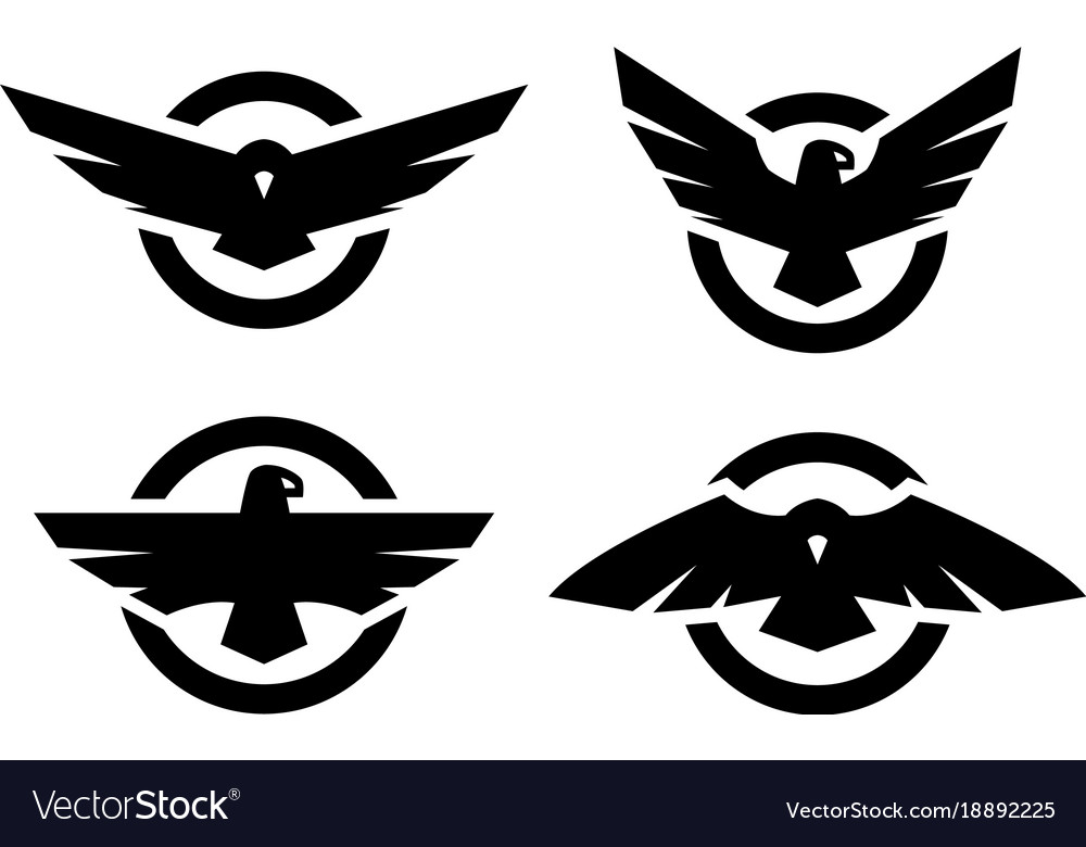 Set Of Logos With An Eagle Silhouette Royalty Free Vector