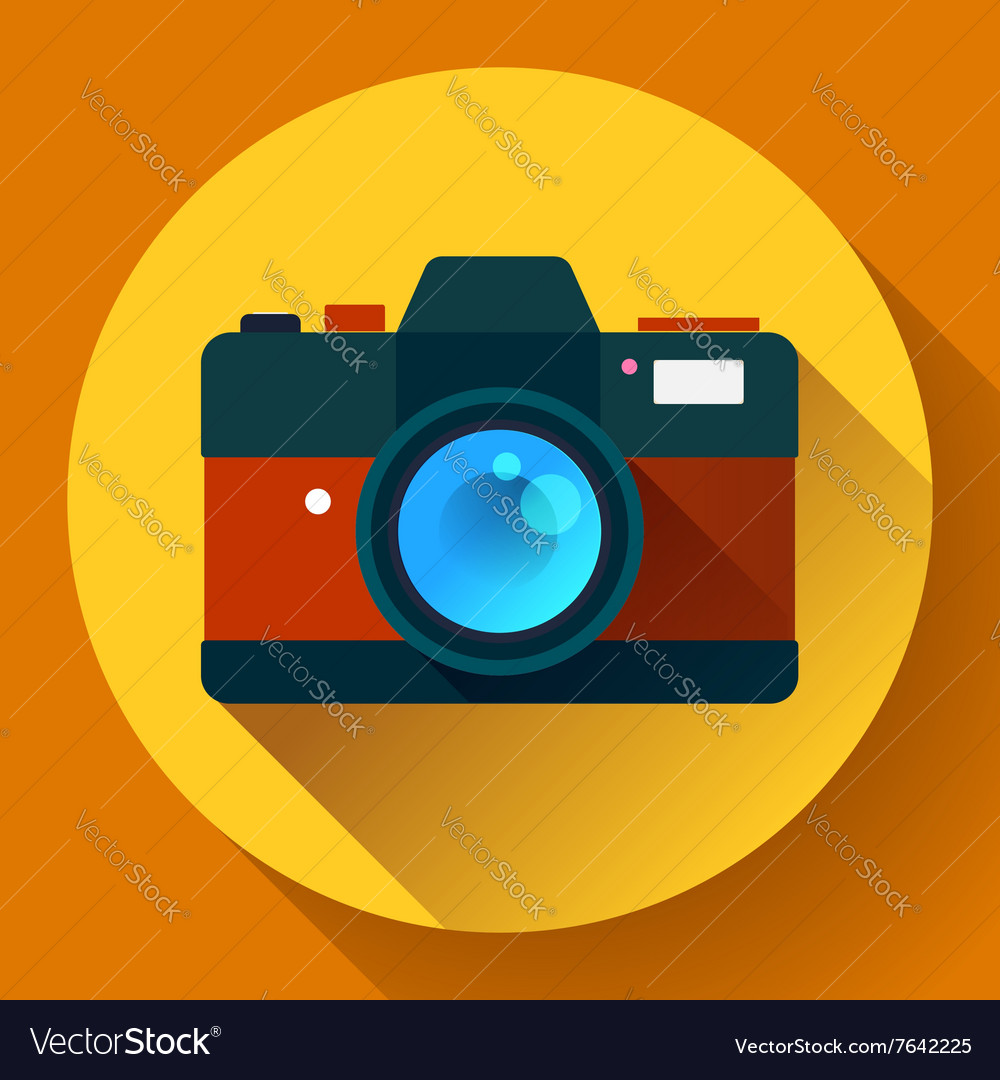 Vintage photo camera icon with long shadow Flat