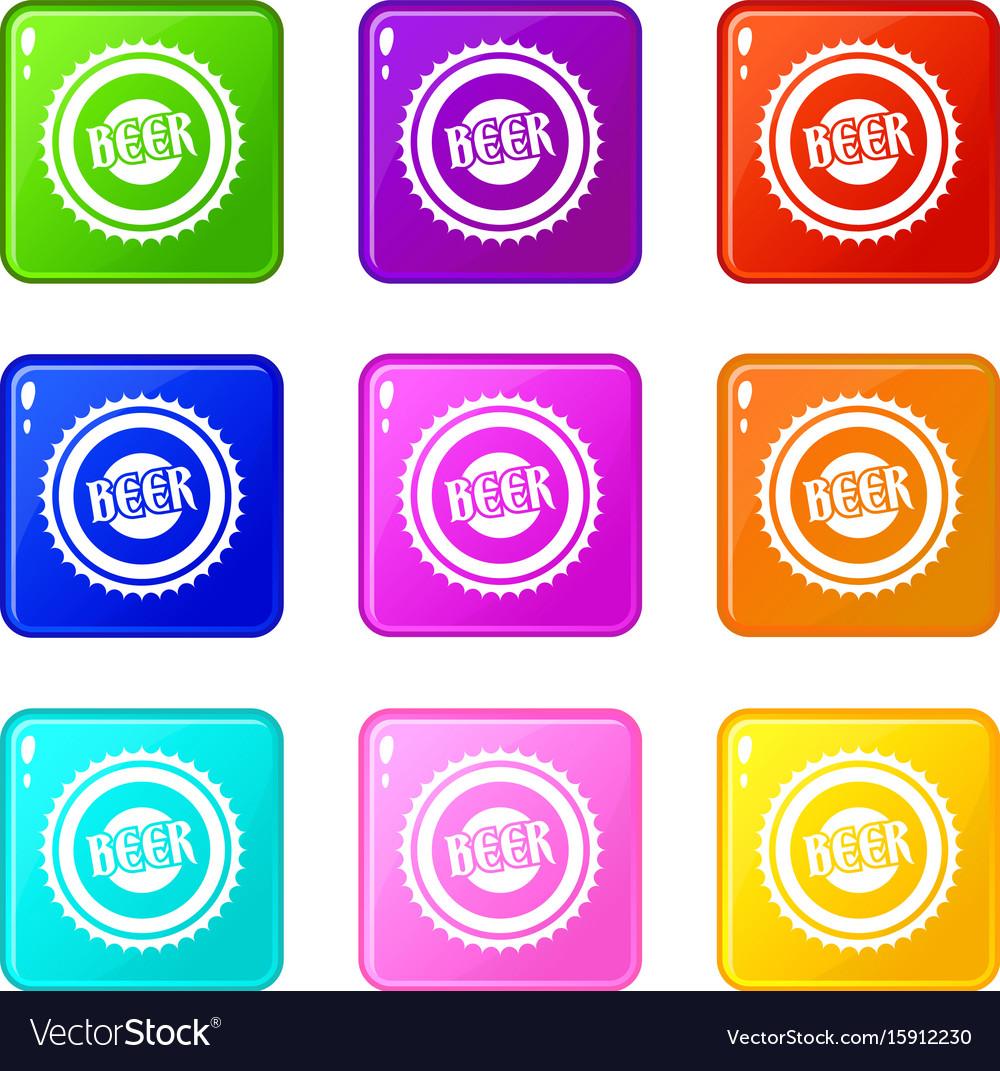 Beer bottle cap icons 9 set vector image