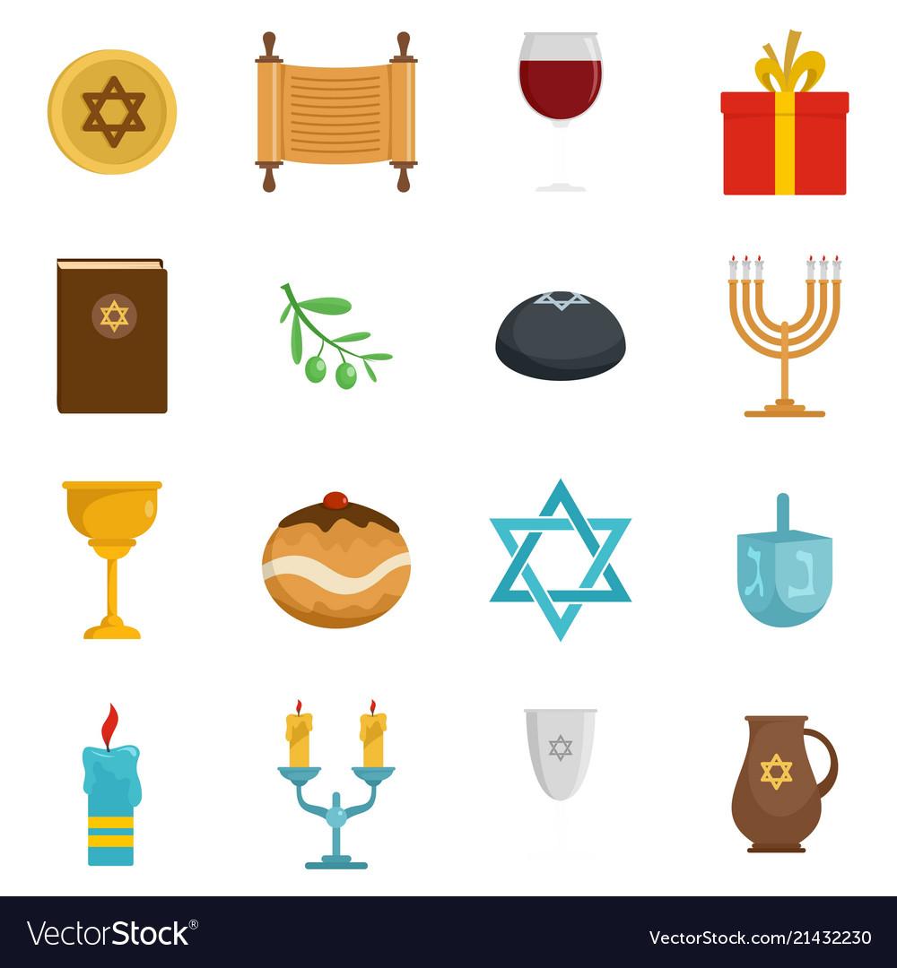 Chanukah jewish holiday icons set flat style