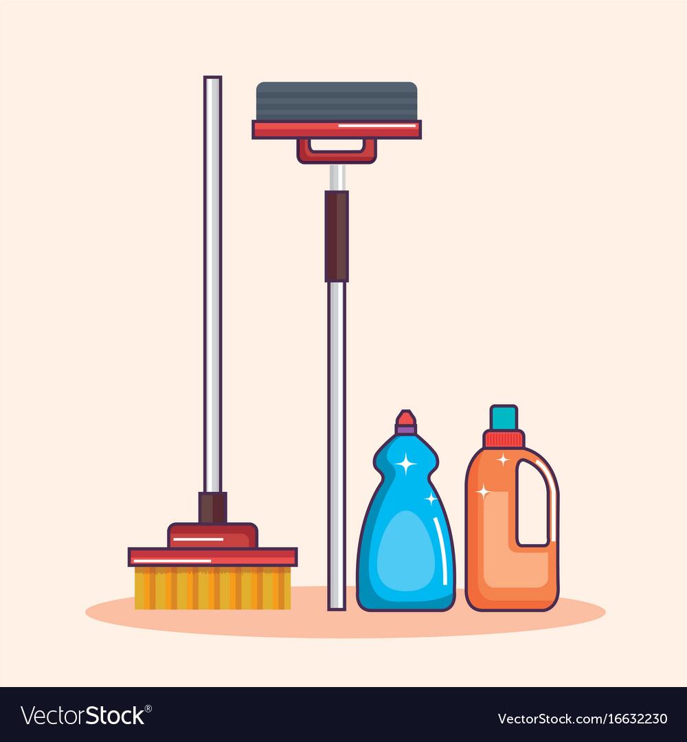 Laundry equipment clear broom mop detergent vector image