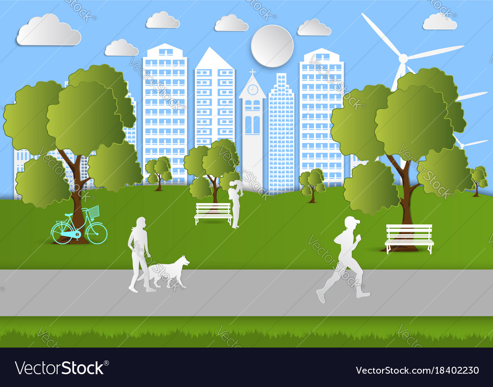 Paper art people walking in city parks ecology