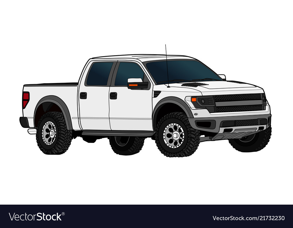 Pickup truck template isolated on white