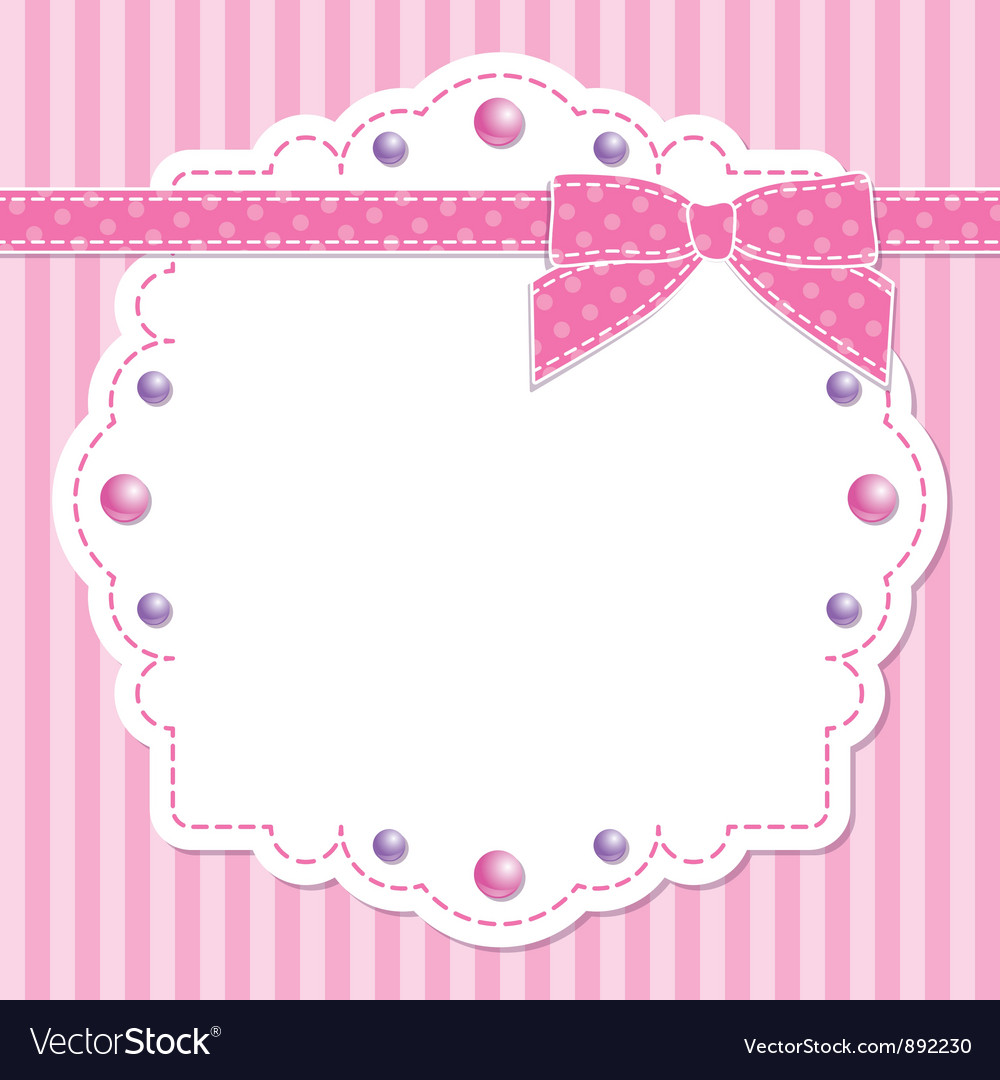 Pink frame with bow Royalty Free Vector Image - VectorStock