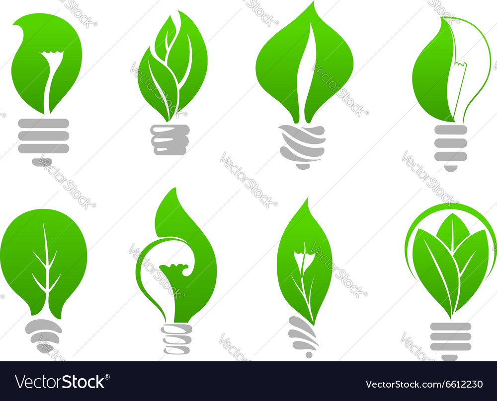 Save energy light bulb icons with green leaves