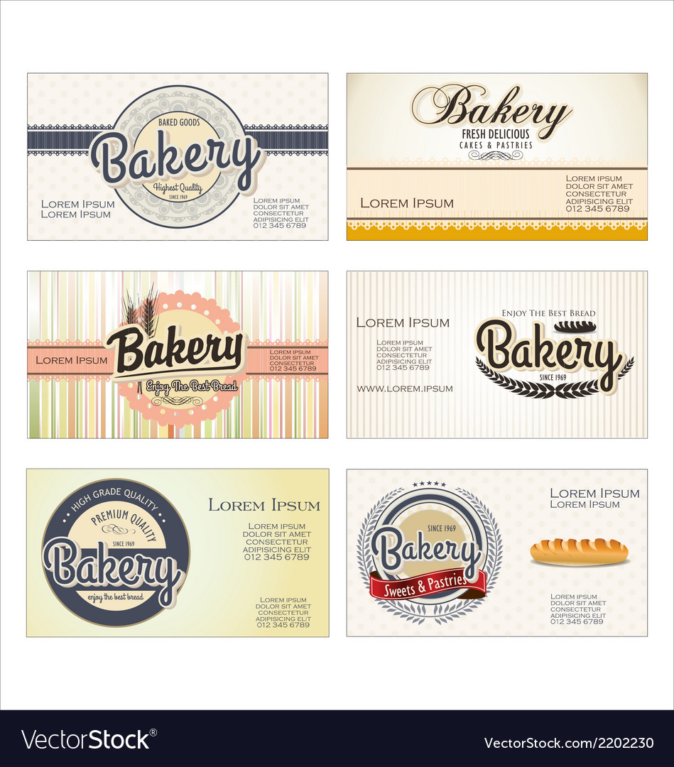 set of 5 bakery business card templates vector image - Bakery Business Cards
