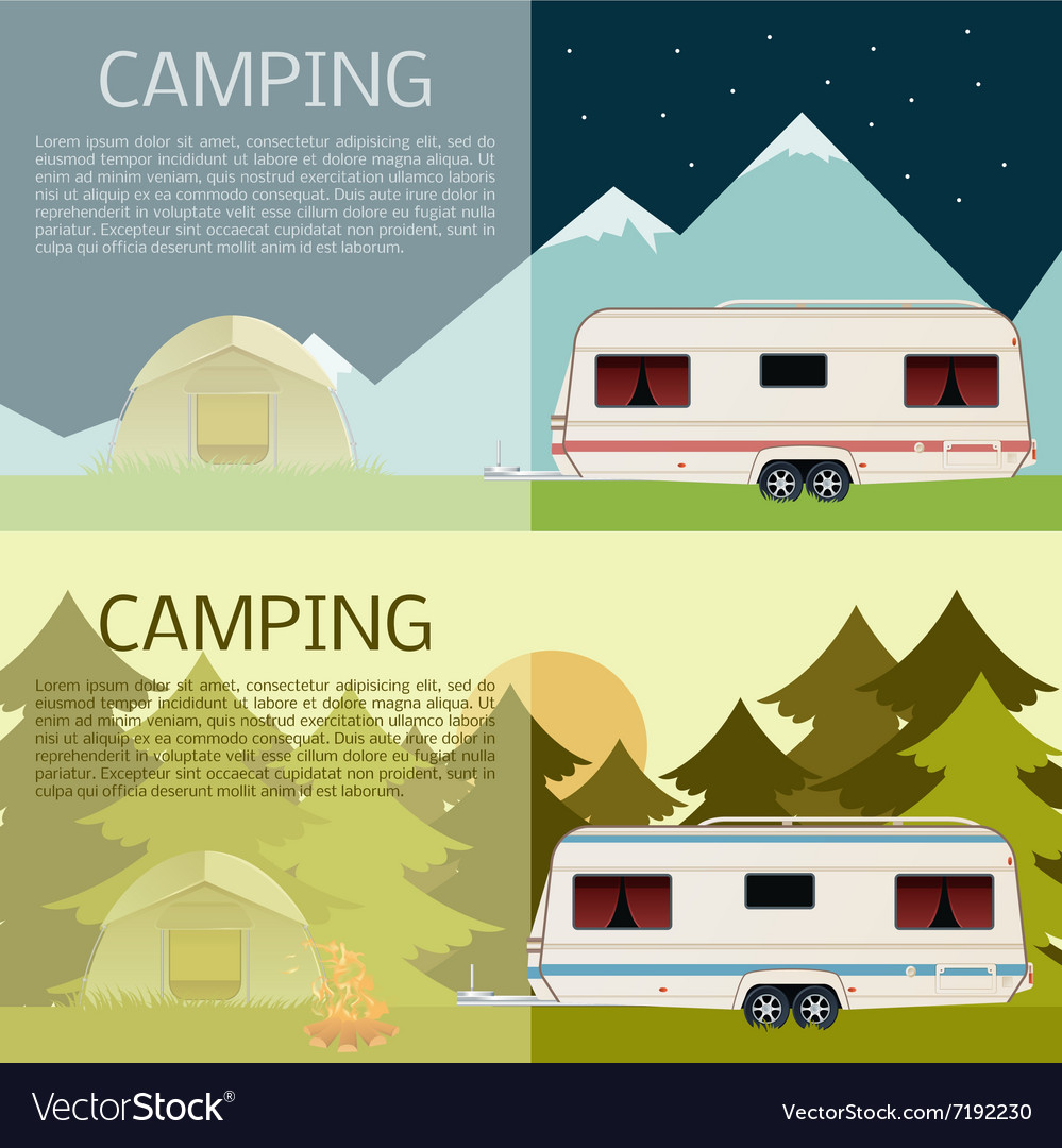 Set of camping banners