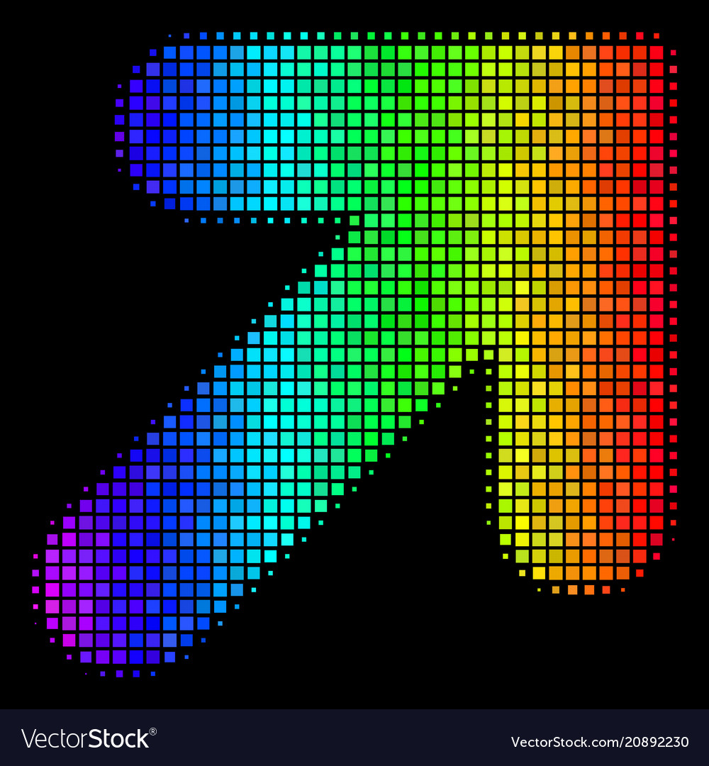 Spectral colored pixel arrow up right icon vector image