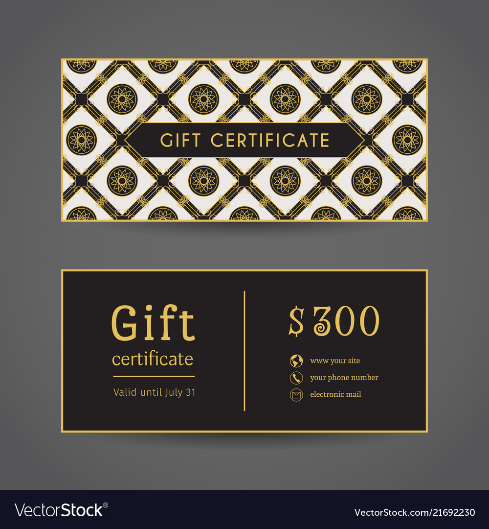 Vintage gift certificate front and back