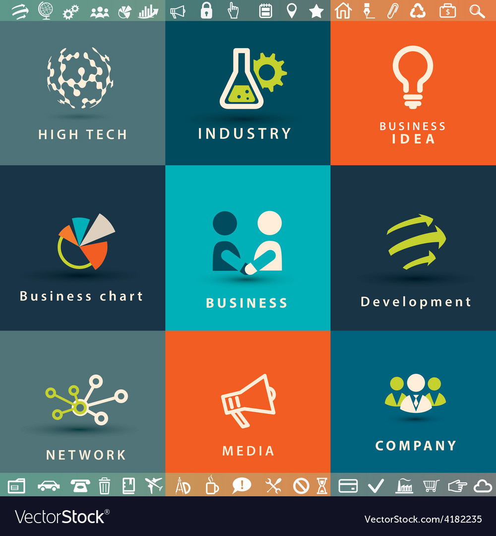 Abstract business and technology icons set