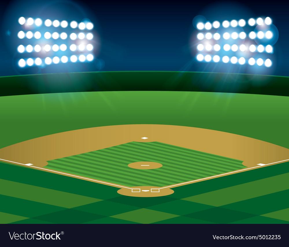 Baseball Field at Night vector image
