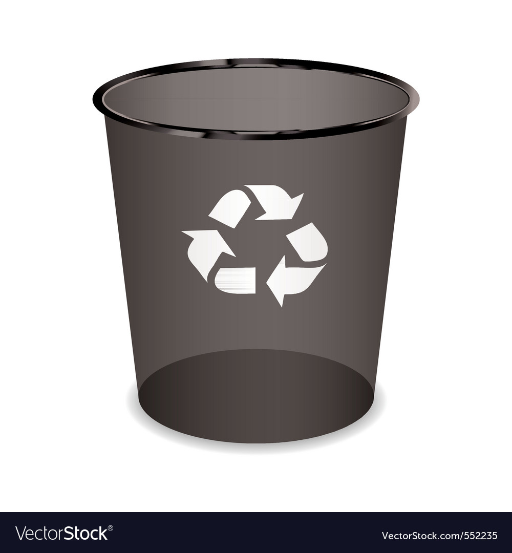 Black transparent trash or waste recycle bin vector