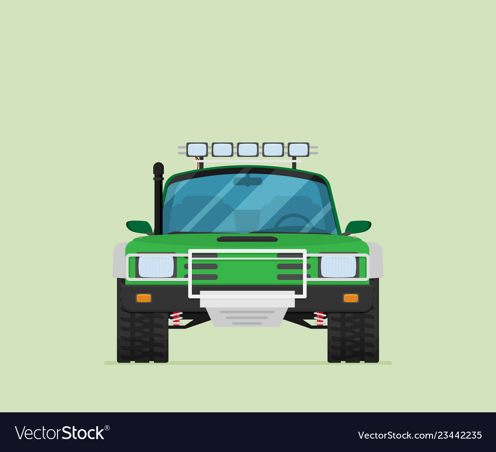 Car front view off-road vehicle isolated on color