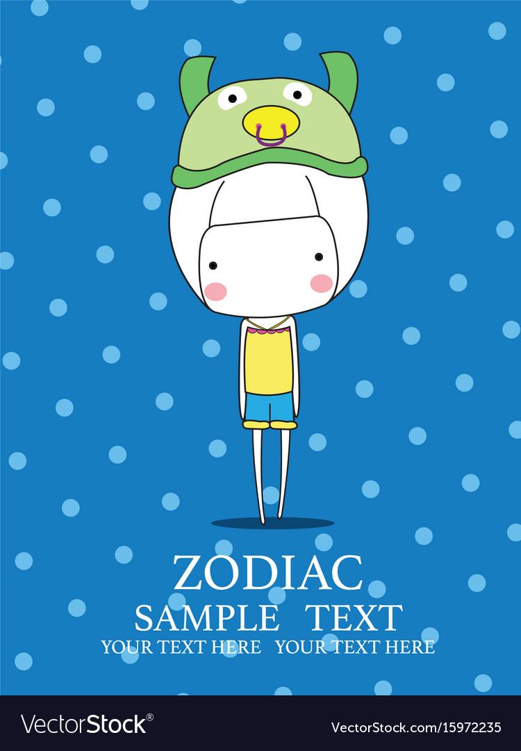 Cute baby girl set zodiac - symbols of chinese hor vector image