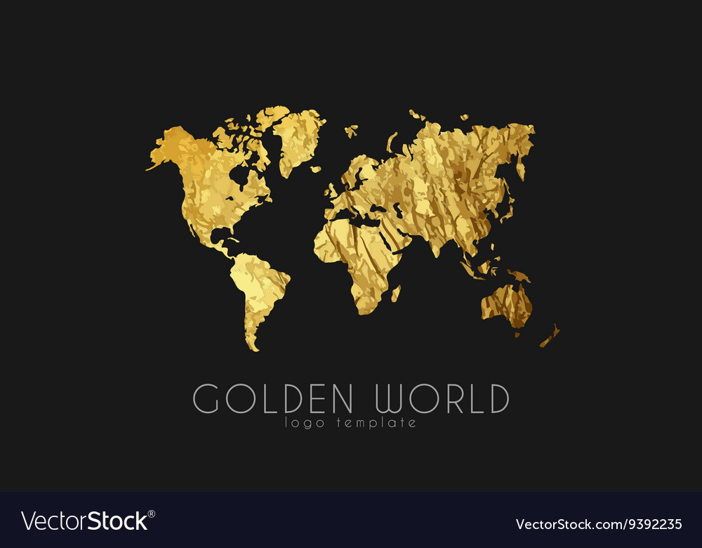 Golden world map world logo design creative vector image gumiabroncs Image collections